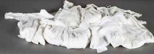 Victorian and later baby's christening gown, dresses and nightwear of embroidered, lace trimmed