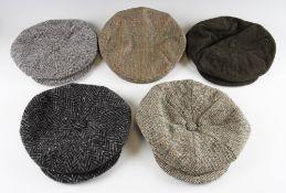 Collection of various period style tweed golfers caps (5) Harris Tweed size 7 ¼; Bladen Supasax 7