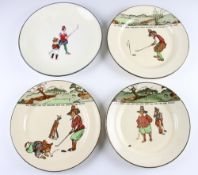 3x Royal Doulton Golfers Series Ware Plates – decorated with Crombie style golf figures and