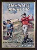 "Johnnie Walker well known whisky advertising coloured golf print - titled ""Fore-most since 1820 -"