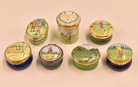 7x enamel boxes with golfing designs to include two Crummels boxes 'Gieves & Hawkers' and 'Bob