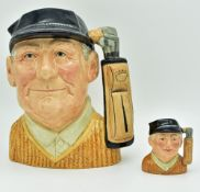 Royal Doulton Golf Character Jugs: Large Golfer D6623 together with small Golfer D6757 (2) From