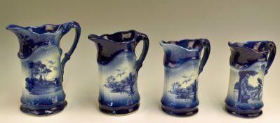 Group of 4 late 20th century Crown Devon Golfing Scene Jugs each in flow blue glaze titled Two heads