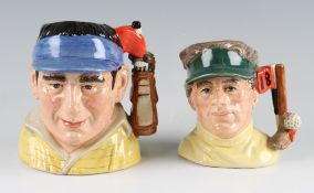 Two Royal Doulton 'The Golfer' Character Jugs D7064 modelled by David Biggs and D6865 modelled by