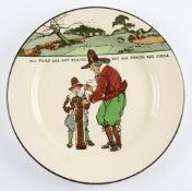 Royal Doulton Golfers series ware plate – decorated with Crombie style golf figures and saying '