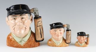 Graduating Set of 3 Royal Doulton 'Golfer' Character Jugs largest D6623, D6756, D6757, all in good