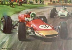 6x Michael Turner Motorsport Colour Prints featuring Graham Hill, Gold Leaf Team Lotus and Vintage