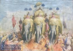 India Colour Lithograph 19th Century The Maharajas Elephant procession dimensions 24 x 18 cm