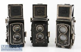 3x Floth-Flex Germany TLR Cameras with Foth-Anastigmat 1:2,5 f=75mm, 2x 1:3,5 f=75mm (3)