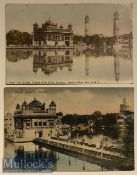 India Postcards (2) scenes of the Sikhs holiest shrine the golden temple of Amritsar, Punjab.
