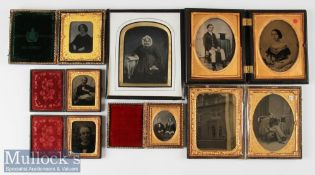 Selection of Victorian Ambrotype Photographs to incl double cased example with a man and woman in