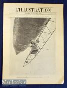 Santos Dumont Airship 20th July 1901 L'Illustration publication a very large front cover