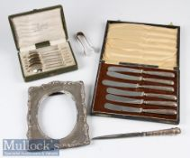 Mixed HM Silver Selection – incl cased matched set of 6 Apostle spoons with Birmingham hallmarks,