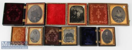 Group of 6 Victorian Ambrotype Photographs incl two women, two gentlemen in union cases, group