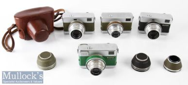 4x Carl Zeiss Werra 35mm cameras all with Zeiss/Tessar 2,8/50 5723361, 4593902, 5927067, 5968470