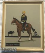 India Military - Original c1920s watercolour painting of a decorated Sikh Subadar major of the