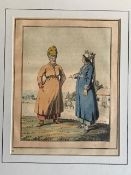 Asian Aquatints – coloured various scenes mounted measures 25x36cm overall (5)