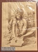 India – Wood Carver Print W Griggs photo-litho. London mounted measures 37x49cm together with