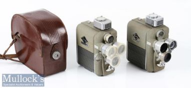 2x Eumig Electric R Treble Turrett cine cameras 8mm one with leather case, plus one plastic lens