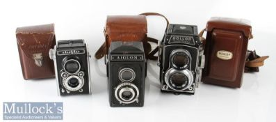 Rollop Automatic TLR camera Enna Werk 1:2,8 f=80mm with leather case and lens cap, plus Aiglon TLR