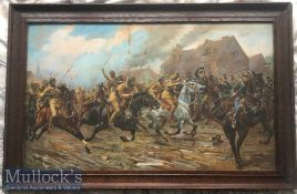 India – WWI Military Lithograph showing Sikhs of the Bengal lancers charge Germans at the battle