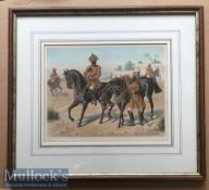 India - Original colour lithograph of the 1st Bengal cavalry review order c1900s by R Simkin. In