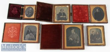 Group of 6 Victorian Ambrotype Photographs incl two gents, two women, seated couple and a child, 5