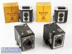 Kodak Brownie Reflex TLR Box Rollfilm Cameras with maker's original boxes plus a six-20 Brownie E