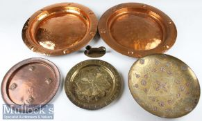 Arts & Crafts Metalware Selection – incl 2x copper chargers with hooks to rear stamped 'Lombard',