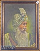 Oil on Board Painting of Raja Ranjit Singh approx. originally purchased from an Art Gallery in the