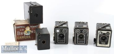 Kodak No2 Brownie box camera made in Canada with original maker's card box plus a No 0 Brownie
