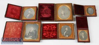 Group of 6 Victorian Daguerreotype Photographs incl 4 gentlemen and 2 women, mostly half length