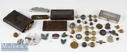 Small Selection of Military Items incl WW1 Victory medal to F J Yates ASC, German gun cleaning