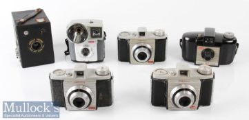 Selection of Vintage Kodak cameras to include a Popular Brownie box camera takes 620 film, 3x Bantam