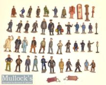 Assorted Lead / Metal Civilian figures appears Railway etc, plus Platform Tickets, trollies, varying