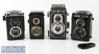 4x Various TLR Cameras to include Bladwin Flex Maestar lens f.57.5mm, Del Monta Pludcanar 1:3,5/