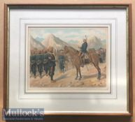 India - Original colour lithograph of a Sikh baggage train on the march escorting the 20th Punjab