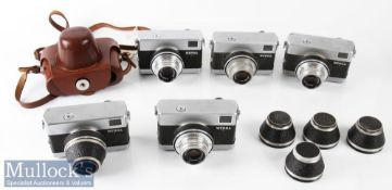 Selection of Carl Zeiss Werra 35mm cameras all with Zeiss Tessar 2,8/50 6597261, 6641850, 6600815,