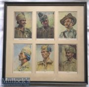 India – WWII Indian Army Period Lithographs showing Types of Indian army regiments including