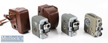 Eumig C3 double 8 film cine camera comes in leather case, movement mechanism works, together with 2x
