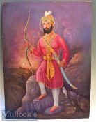 HUS Ratton 'Guru Gobind Singh Ji' Oil on Canvas slight damaged to top corners, measures 68x95cm