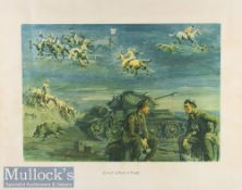 WWII Military - Snaffles hand coloured military print entitled 'Once upon a Time' in period frame,