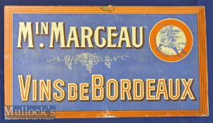 Wine Bar & Café Hanging Sign Board 1890-1900 Printed On Thick Card With Original Clip For Hanging,