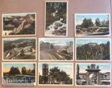 Collection of (9) litho postcards scenes of Ranikhet, India c1900s. Set includes views of Bazaar,