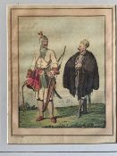 Asian Aquatints – coloured various scenes Khoords, and more, mounted measures 25x36cm overall (5)