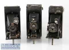 3x Kodak folding cameras to include No 1A Autographic Junior marked 13338 and 13662, 1A