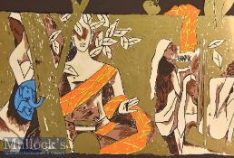Maqbool Fida Husain (1913-2011) 'Buddhism' Signed Limited Edition Colour Serigraph 172/300 with