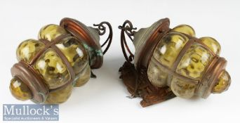 Two Vintage Marine Style Wall Lights with copper mount and frames with coloured glass shades