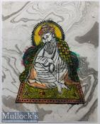 India & Punjab – Guru Nanak Textile Block Print – a fine vintage block print on textile of Guru