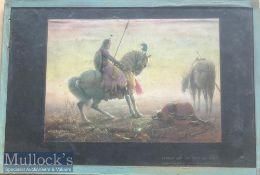 Original 19th century lithograph India depicting Sukta asking pardon of his brother Pertap after his